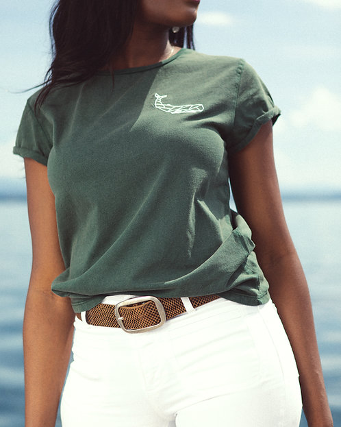 T-Shirt rolled sleeve Green