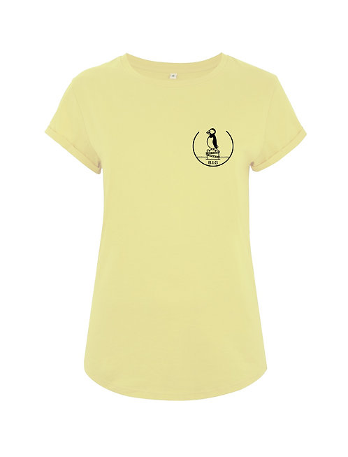 """T-shirt Rolled Sleeve """"Puffin"""" Lemon"""