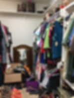 Before cluttered closet