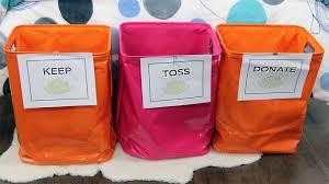 Keep, Toss Donate Bins