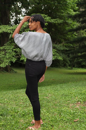 Hand-dyed Gray Linen Crop Top