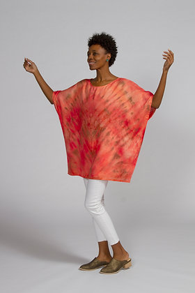 Hand-dyed Coral Linen Dolman Sleeve Tunic