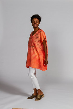 Hand-dyed Coral Mix Linen V-Neck Tunic
