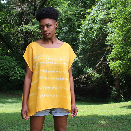 Hand-dyed Linen Top