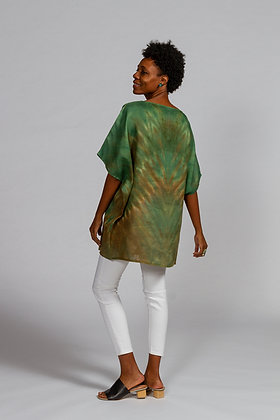 Hand-dyed Green Mix Linen Dolman Sleeve Tunic