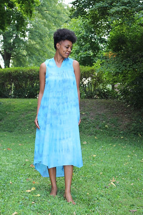 Hand-Dyed Linen Draped Neck Dress