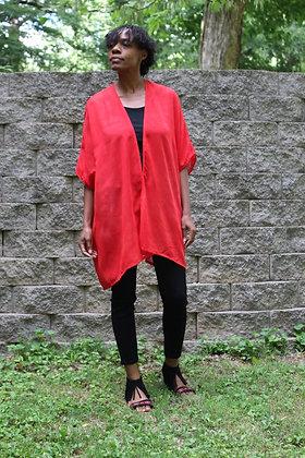Hand-dyed Red Cotton Kimono
