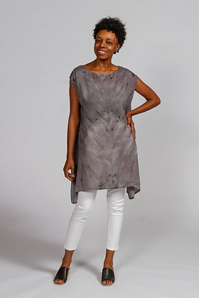 Hand-dyed Gray Mix Linen Tunic