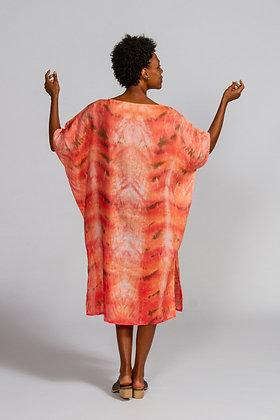 Hand-dyed Peach Mix Linen Dolman Sleeve Tunic