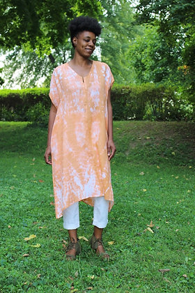 Hand-dyed Linen Placket Front Midi Tunic