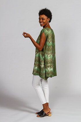 Hand-dyed Green Mix Linen Tunic