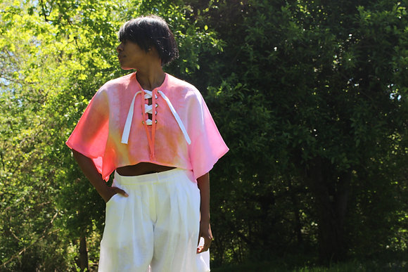 Hand-dyed Cropped Linen Top