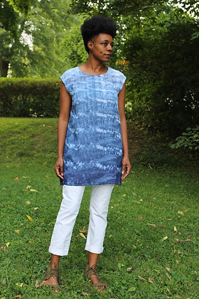 Hand-dyed Pleated Sheer Back Tunic