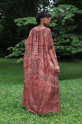Hand-dyed Brown Mix Peasant Maxi Tunic