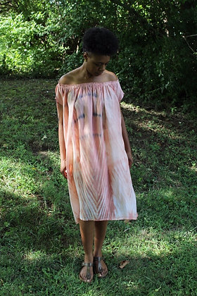 Hand-dyed Linen Off-Shoulder Midi Tunic