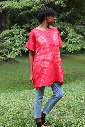 Hand-dyed Red Linen Tunic