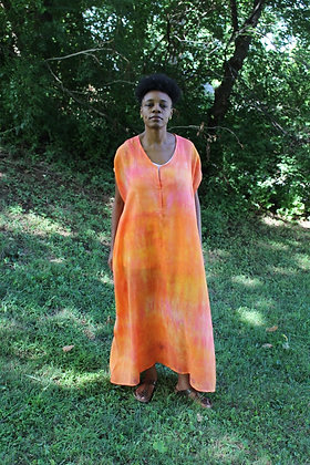 Hand-dyed Linen Maxi Tunic