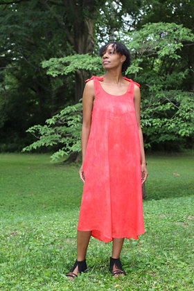 Hand-dyed Red Linen Tank Dress