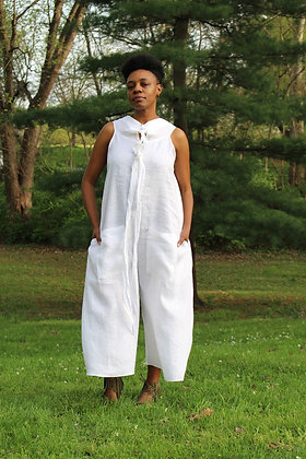 White Linen Cropped Jumpsuit