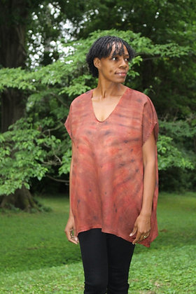 Hand-dyed Brown Mix V-neck Tunic