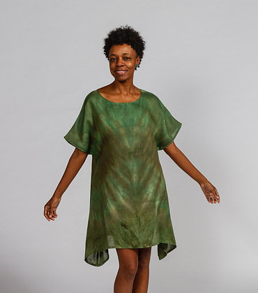 The Dancer Hand-dyed Green Mix Linen Tunic Dress