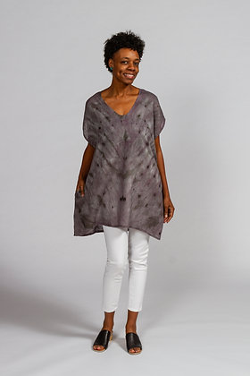 Hand-dyed Gray Mix Linen V-Neck Tunic