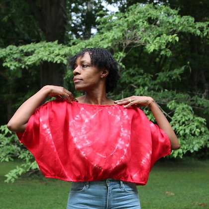 Hand-dyed Red Line Crop Top