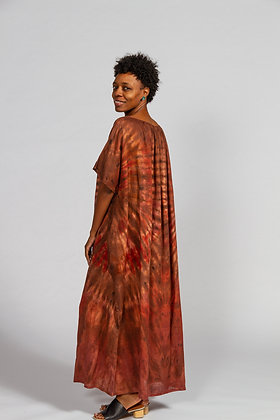 Hand-dyed Brown Mix Linen Caftan