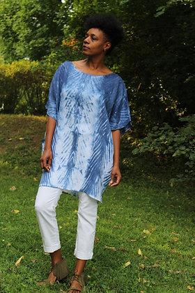 Hand-dyed Linen Dolman Sleeve Tunic