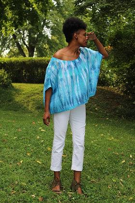 Hand-dyed Linen Off-Shoulder Top