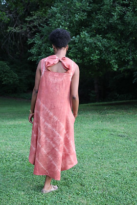 Hand-dyed Linen Draped Neck Dress