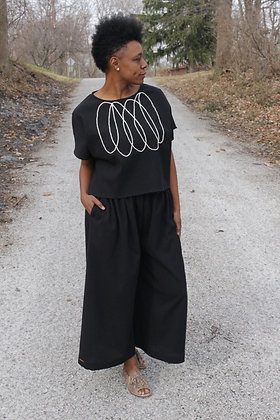 BLACK CRINKLE COTTON WIDE LEG PANTS