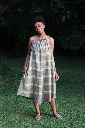 Hand-Dyed Halter Style Midi Dress