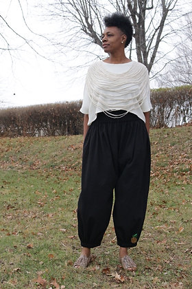 BLACK CRINKLE COTTON HAREM PANTS