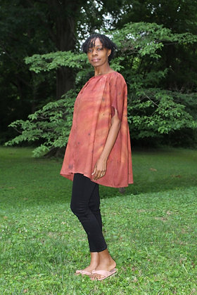 Hand-dyed Brown Mix Linen Peasant Mini Tunic