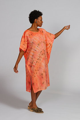 Hand-dyed Coral Mix Linen Dolman Sleeve Tunic