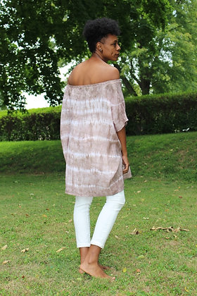 Hand-dyed Off-Shoulder Linen Tunic