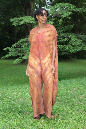 Hand-dyed Brown Mix Linen Jumpsuit