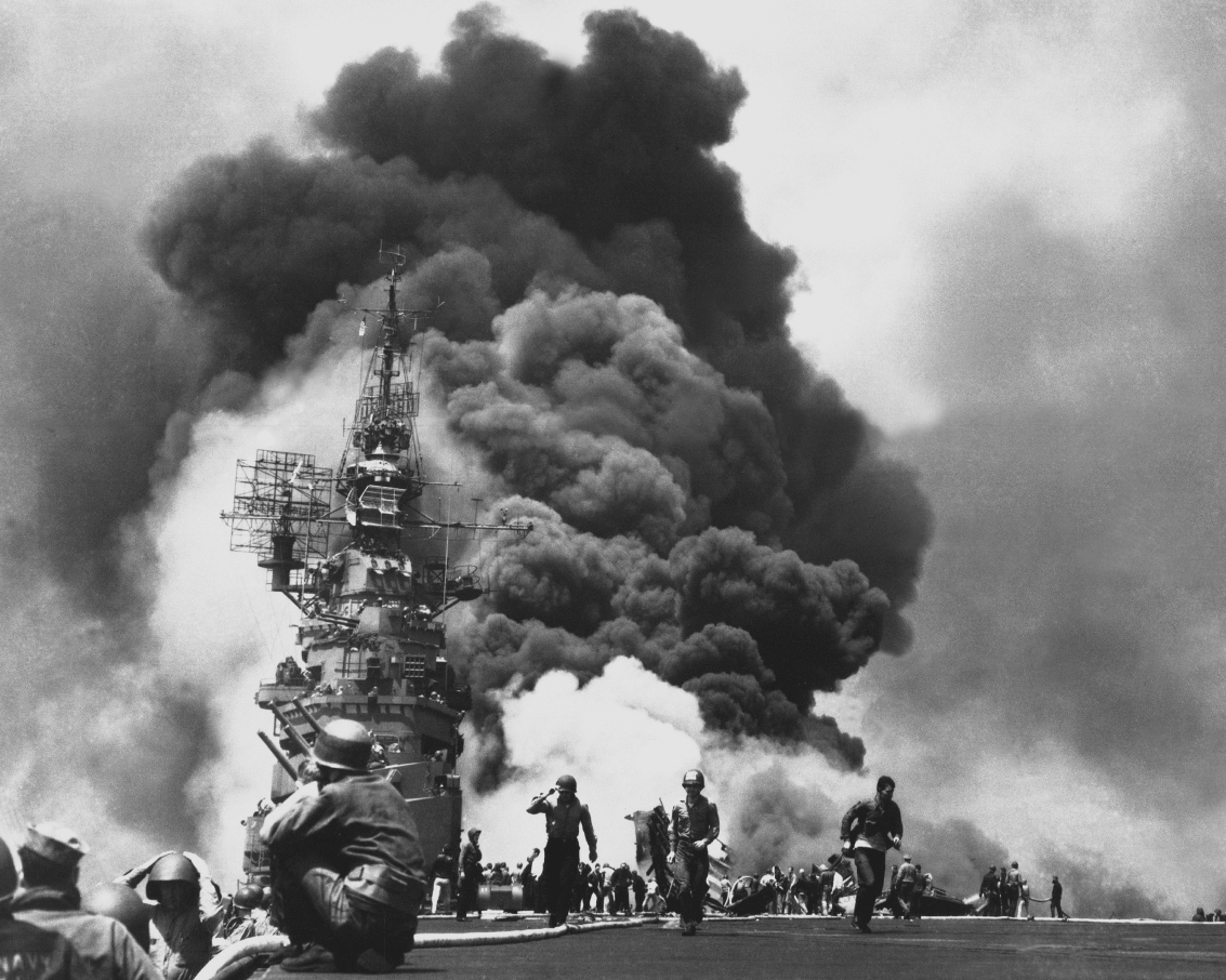 51-USS_Bunker_Hill_hit_by_two_Kamikazes - 25x20