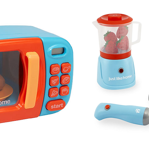Just Like Home Microwave - Blue with Play Food and Just Like Home Deluxe Blender