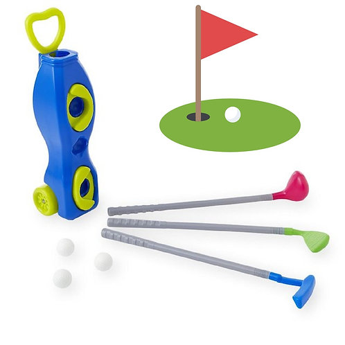 Toy Golf Set Combo with Caddy - Blue