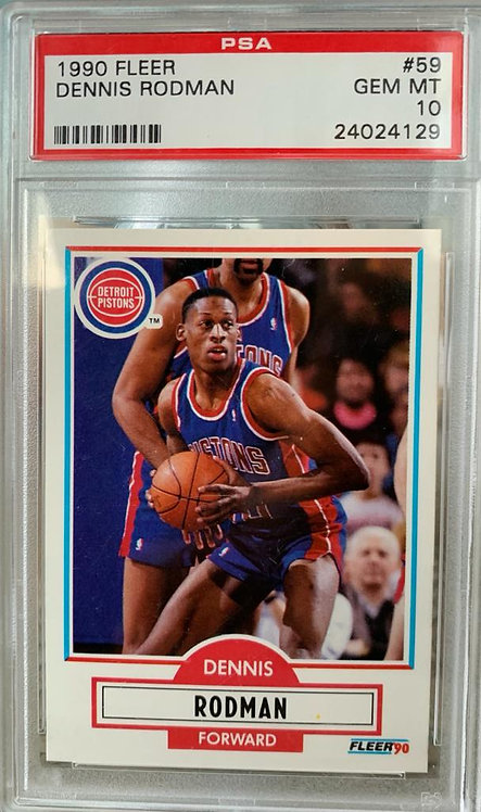 1990 FLEER DENNIS RODMAN BASKETBALL CARD #59 - GRADED PSA 10 GEM MINT