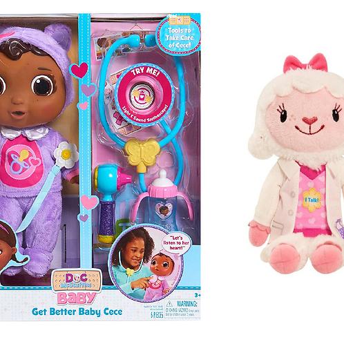 Doc Mcstuffins Get Better Baby Cece Doll and Junior Doc McStuffins Talking Stuff
