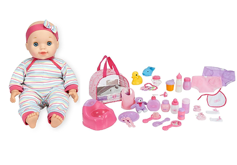 You & Me Chatter & Coo Baby Doll and You & Me 30 Piece Baby Doll Care Accessorie