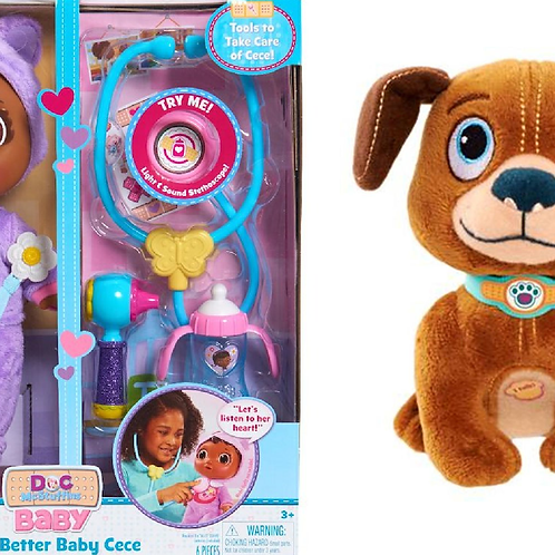 Doc Mcstuffins Get Better Baby Cece Doll and Talking Stuffed Pup - Findo