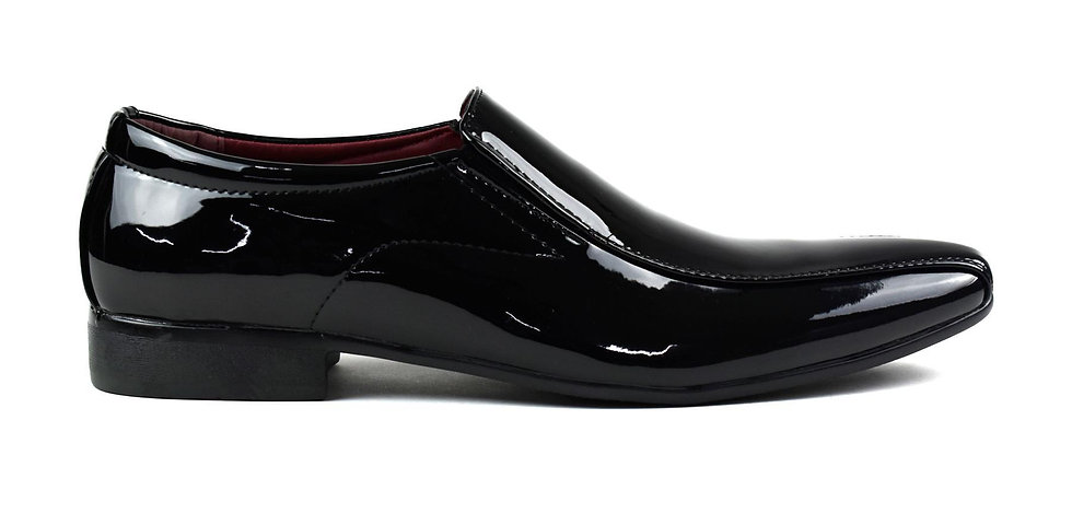 Men's Pointed Black Patent Slip On Shoes