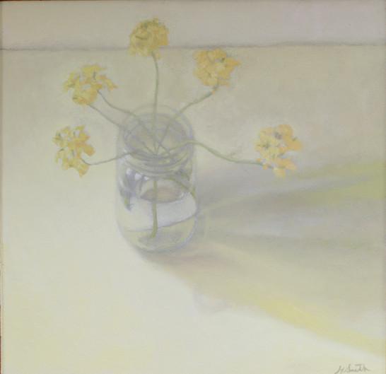 Flowers in a Jar, Oil on board, 2 x 2 ft