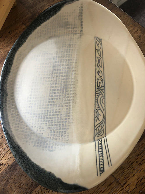 Off White Plate with hand drawing pattern