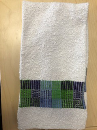 Handmade Cotton/Linen Kitchen Towel (blue, purple, green)