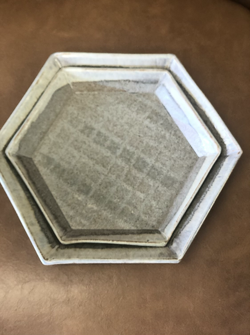 Set of 2 Hexagon plates by Julie Brown